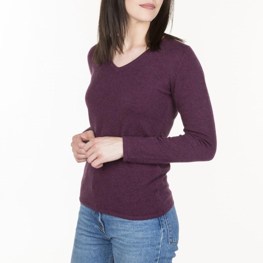 V collar cashmere sweater - Hama