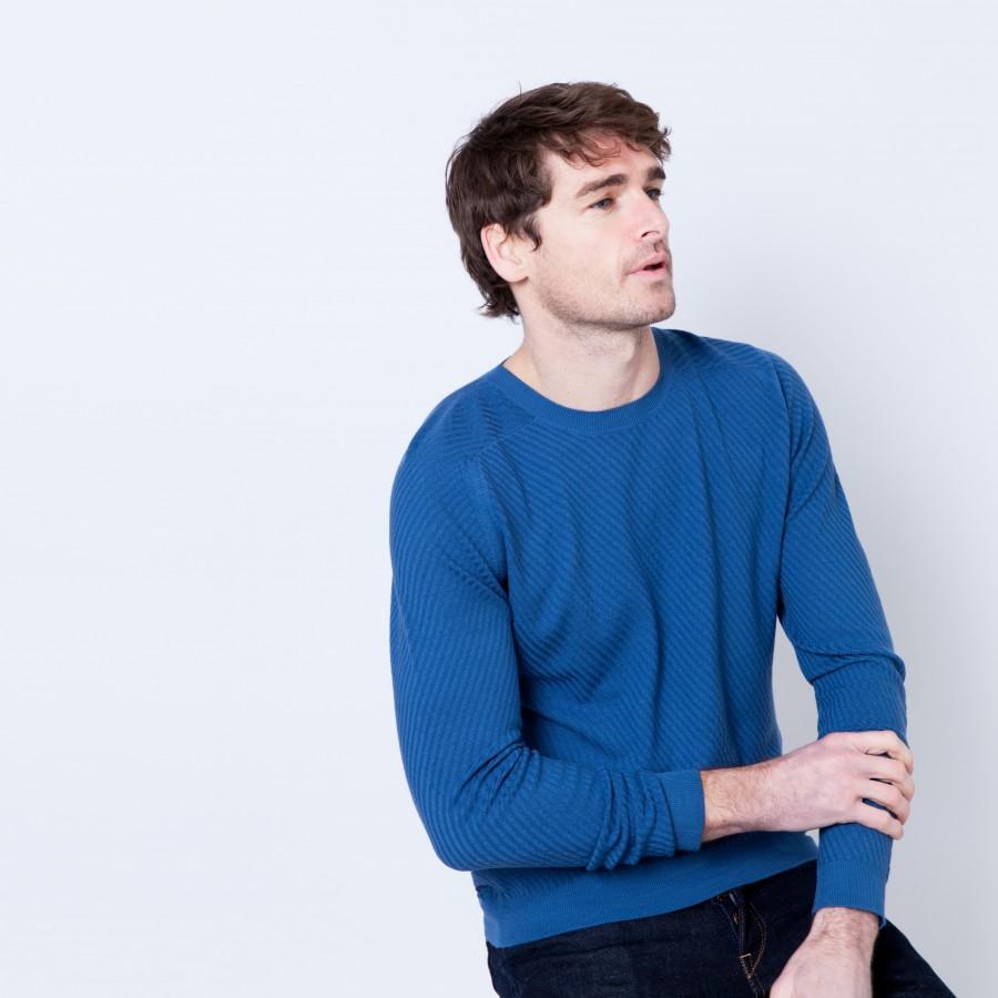 Pull en laine fantaisie Ben 6242 Baltique - 06 Bleu moyen