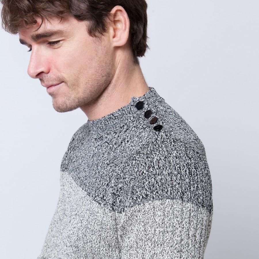 Pull bicolore en coton Bertrand 6219 Gris chiné clair - 11 Gris clair