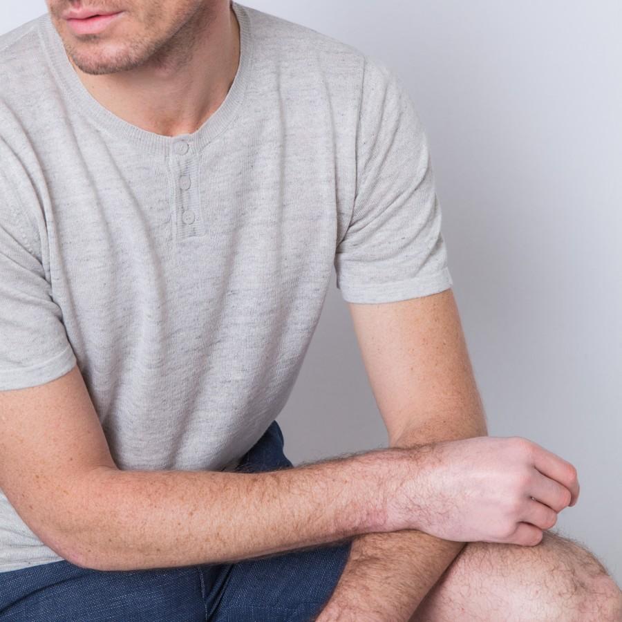 T-shirt en lin et coton Betty 6213 Gris chiné clair - 11 Gris clair