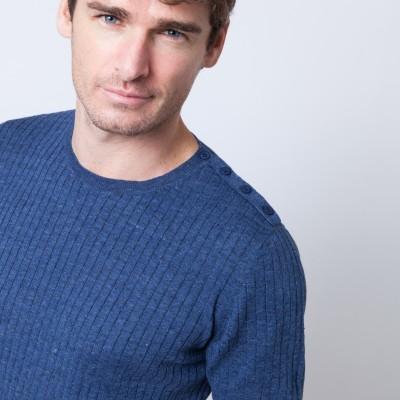 T-shirt à côtes en lin et coton Brune