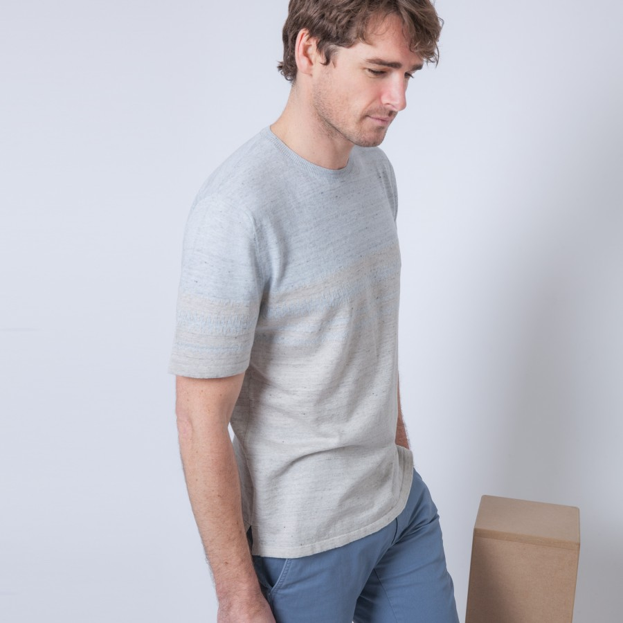 T-shirt en lin et coton bicolore Bianka 6202 Gris chiné clair - 11 Gris clair