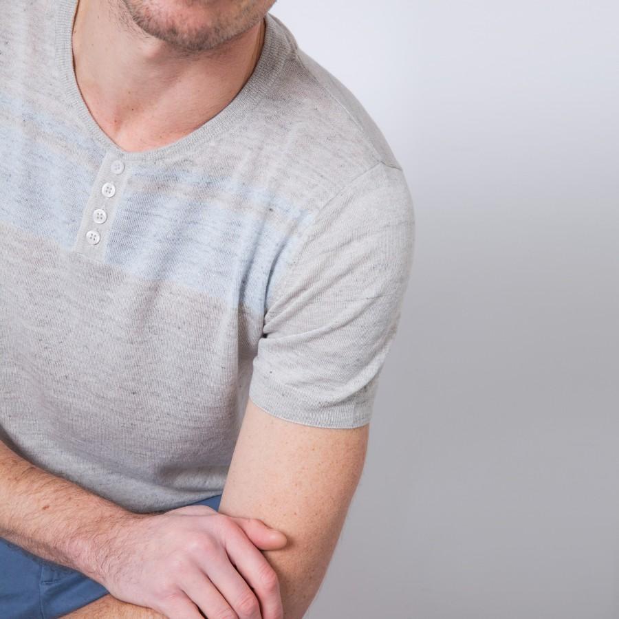 T-shirt en lin et coton à motif Benji