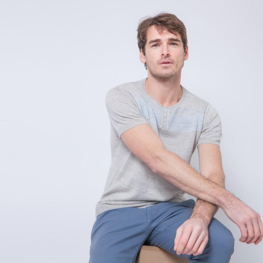 T-shirt en lin et coton à motif Benji 6202 Gris chiné clair - 11 Gris clair