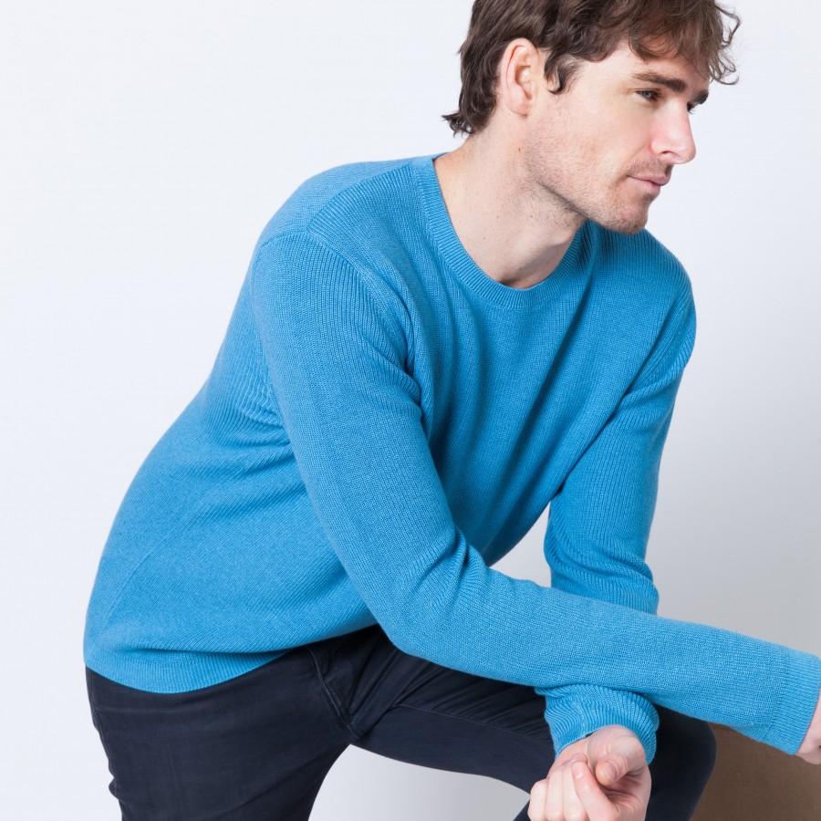 Pull côte anglaise en coton cachemire Baudry 6244 Source - 04 Bleu clair