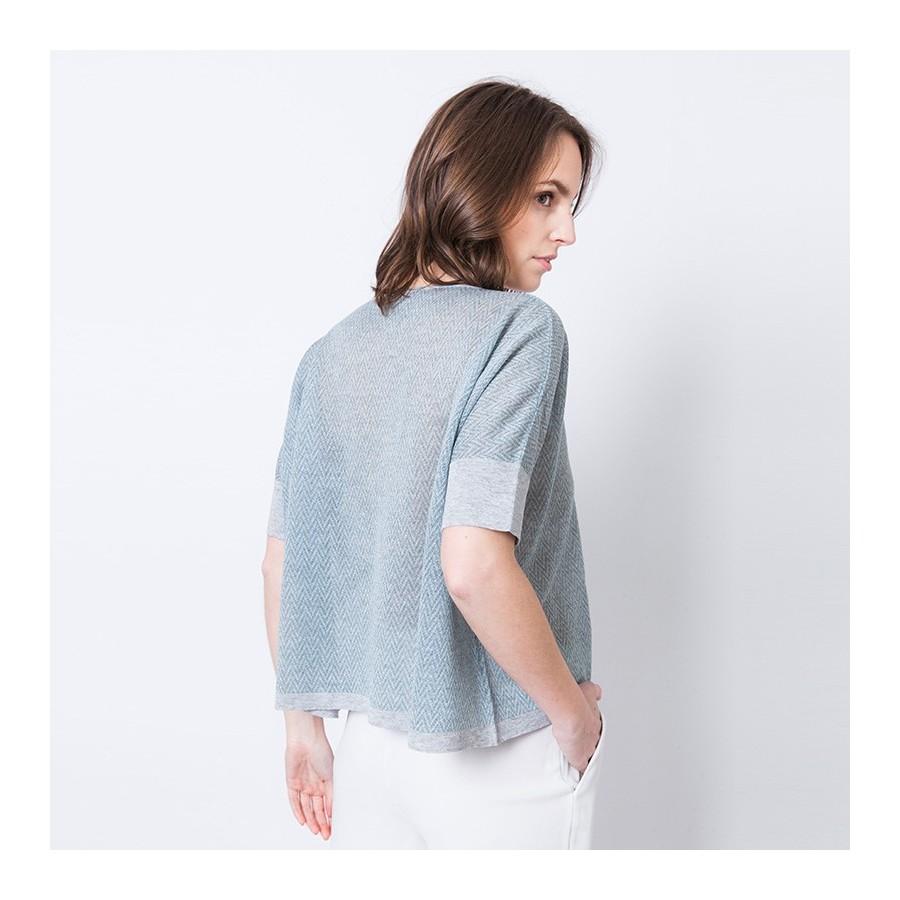 T-shirt femme à motif graphique Auriane 6202 Gris chiné clair - 11 Gris clair