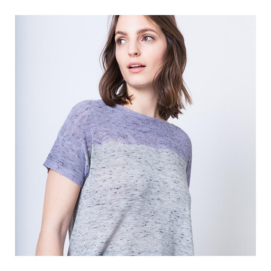 T-shirt en maille chinée bicolore Annie 6291 Chardon gris clair - 16 Violet clair