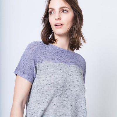 T-shirt en maille chinée bicolore Annie