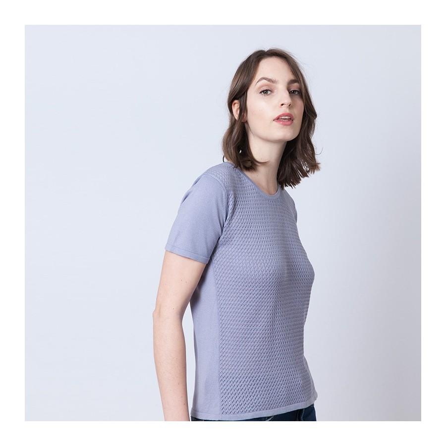 T-shirt maille ajourée Adrian 6290 Chardon - 16 violet clair