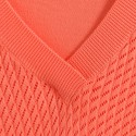 T-shirt col V en coton Alain 6270 Aurore - 15 Orange