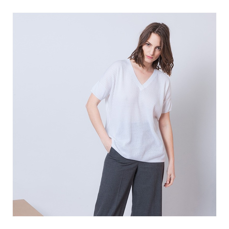 T-shirt col V en coton Alain