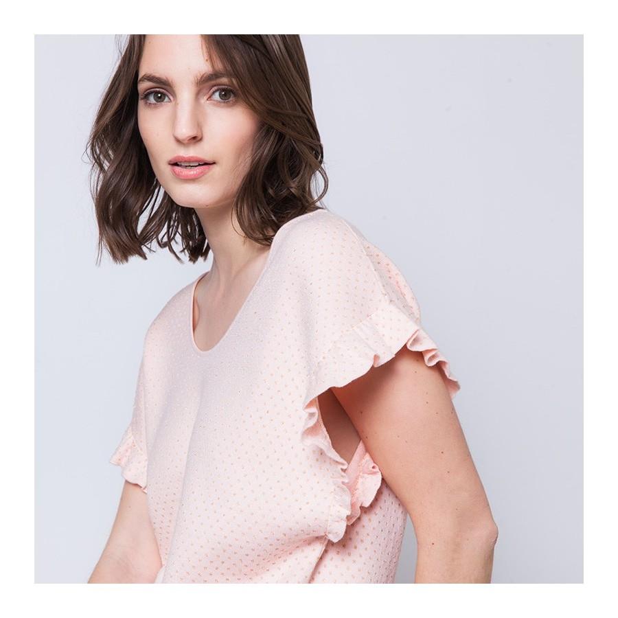 T-shirt large manches à volants Andy 6281 Rosée - 24 Rose clair