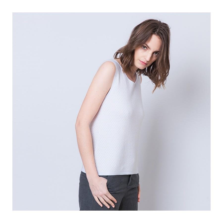 Débardeur à pois Ambroise 6200 Blanc - 02 Blanc