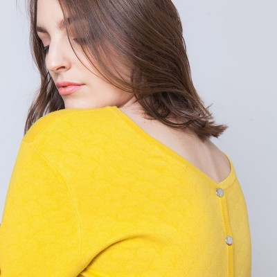 Cotton and cashmere back buttoned sweater Ariel