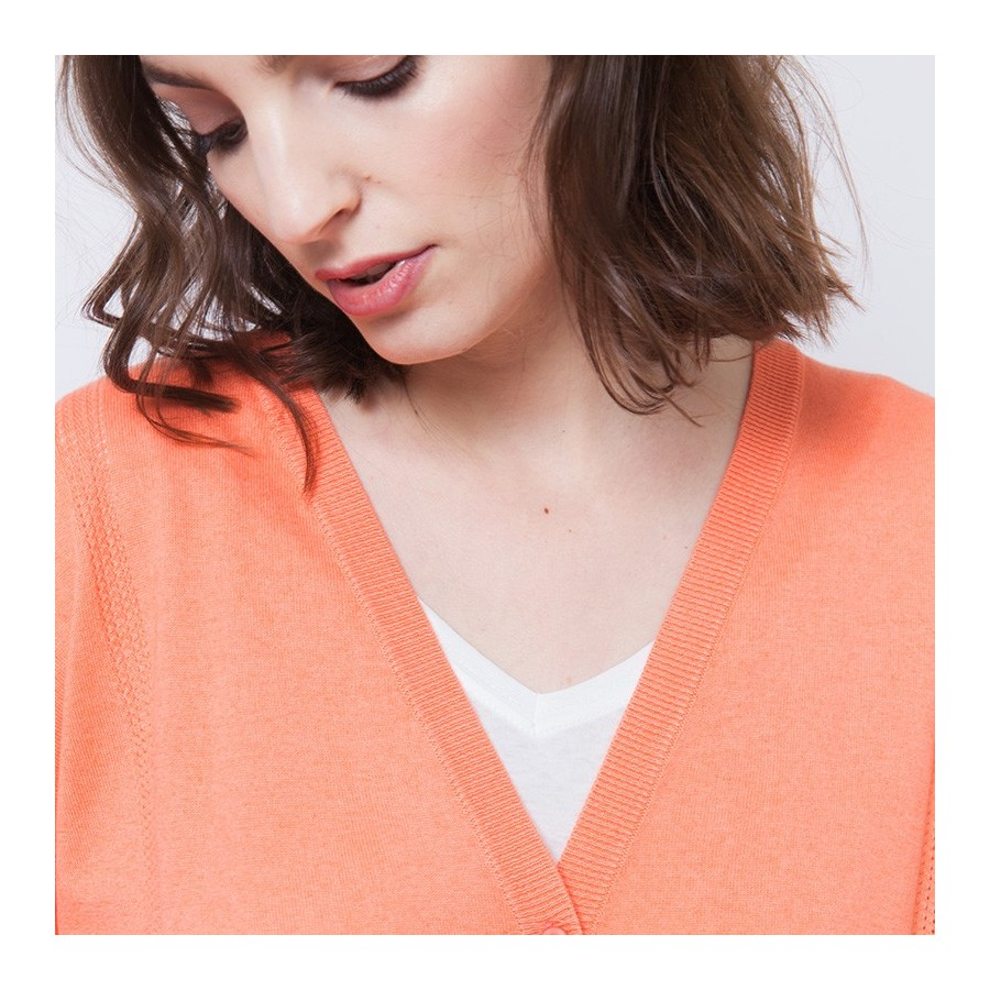 Gilet en coton cachemire Annibal 6270 Aurore - 15 Orange
