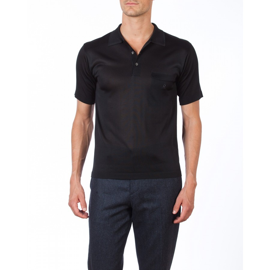 Short sleeves polo made of Fil lumière Cédric noir