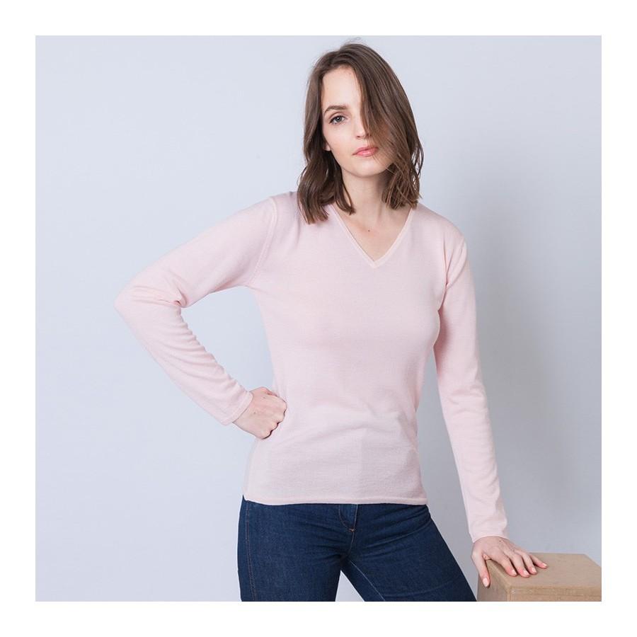 Pull femme en laine et soie Ahmed 6281 Rosée - 24 Rose clair