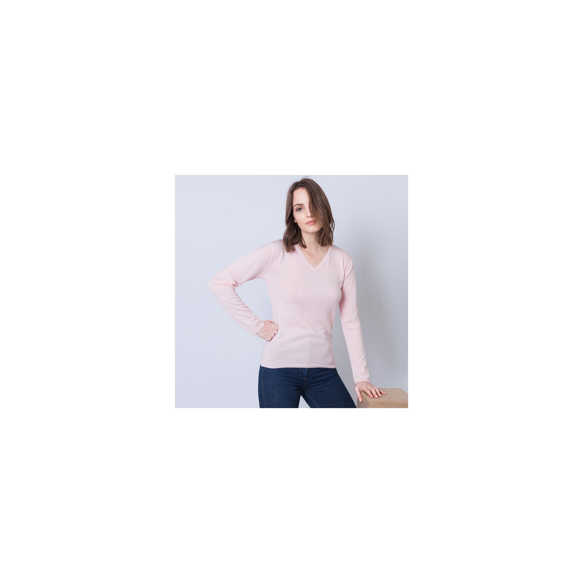 b1ab4758698 Pull femme en laine et soie Ahmed 6281 Rosée - 24 Rose clair