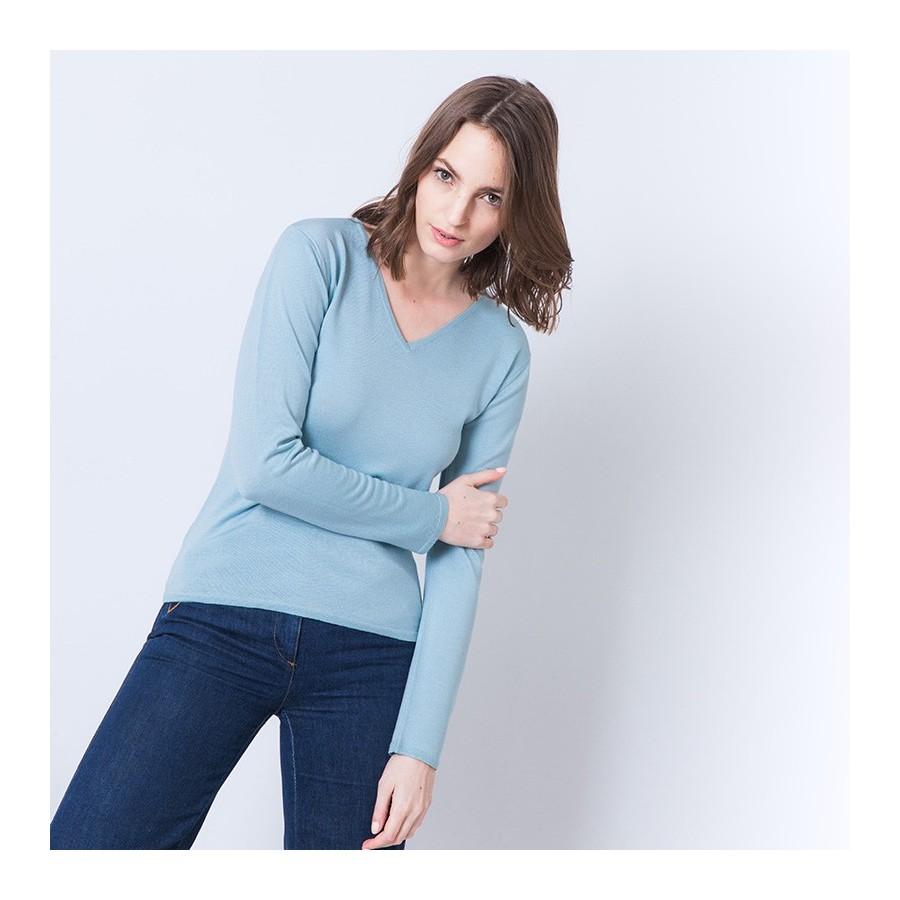 Pull femme en laine et soie Ahmed 6247 Austral - 04 Bleu clair