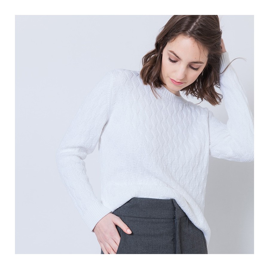 Pull coton femme manches longues Adel 6200 blanc - 02 blanc