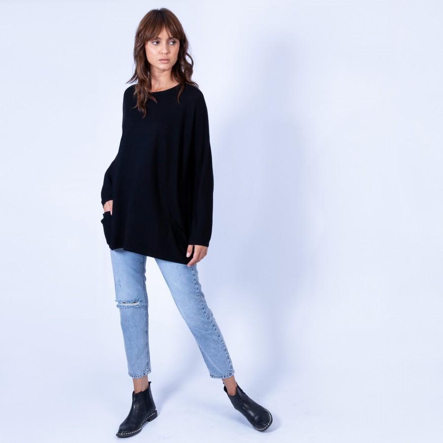 Pull oversize en laine Gina 6310 Noir - 01 Noir