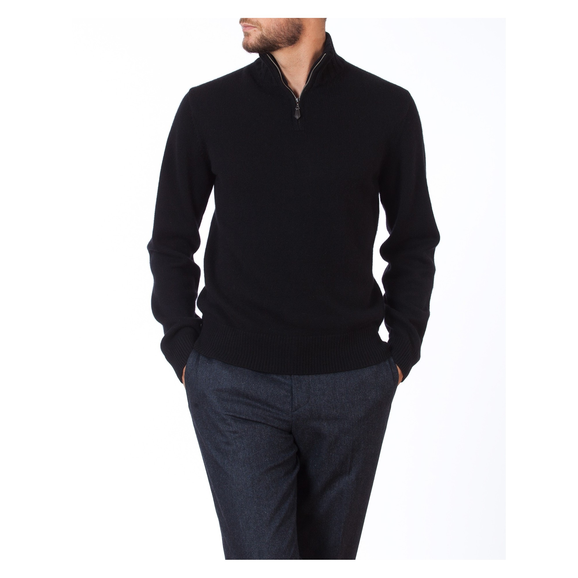 74ef00ba6 Man s zipped collar pullover of quality made of cashmere