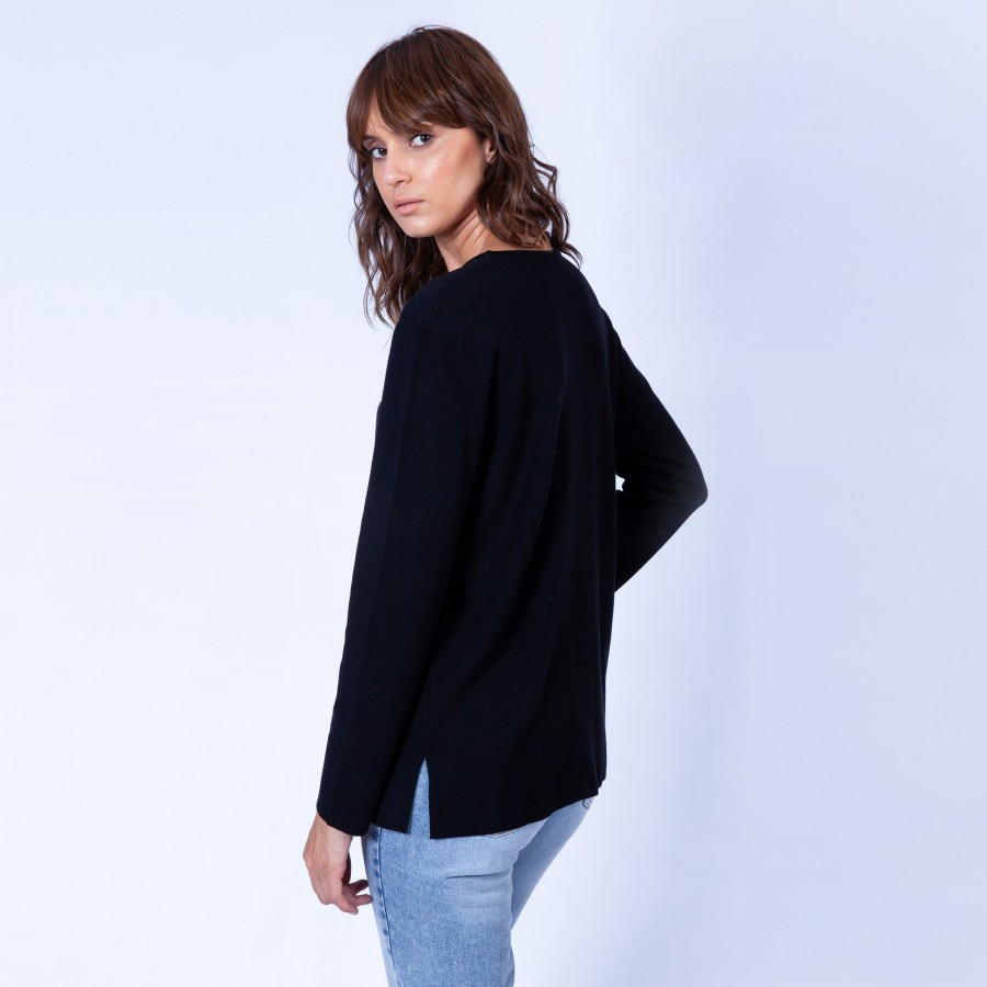 Pull ras de cou intemporel Galia 6310 Noir - 01 Noir