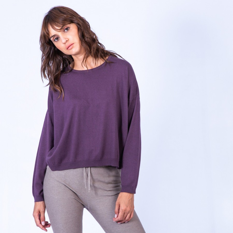 Pull en coton cachemire - Hatsu 6364 Prune - 18 Violet foncé