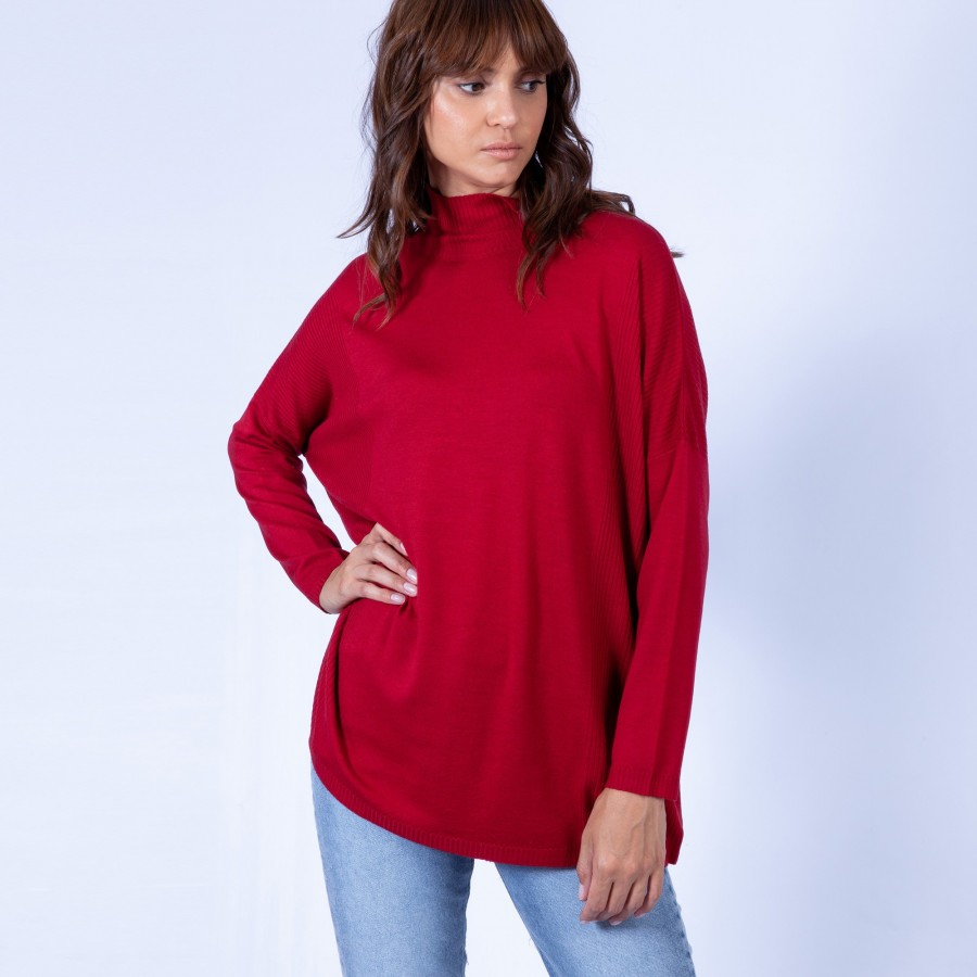 Pull oversize col montant Garance 6375 Laque - 52 Rouge