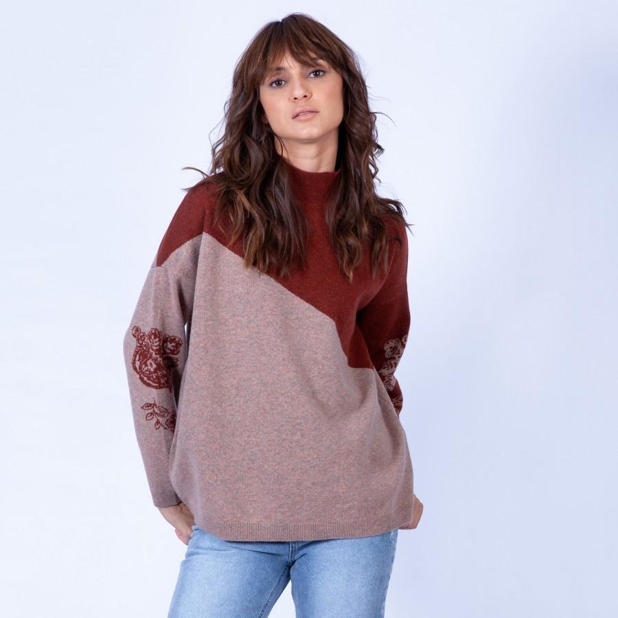 Pull en laine bicolore Gerone 6378 Grege santal - 20 rouge f