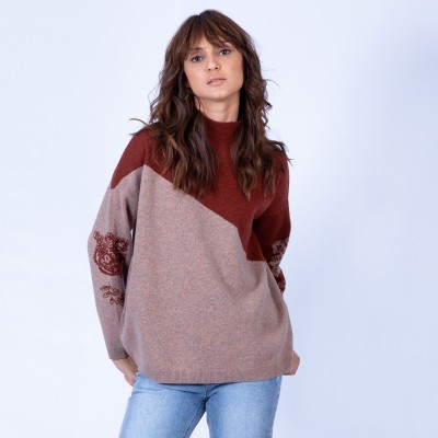 Two-colour woollen jumper - Gerone