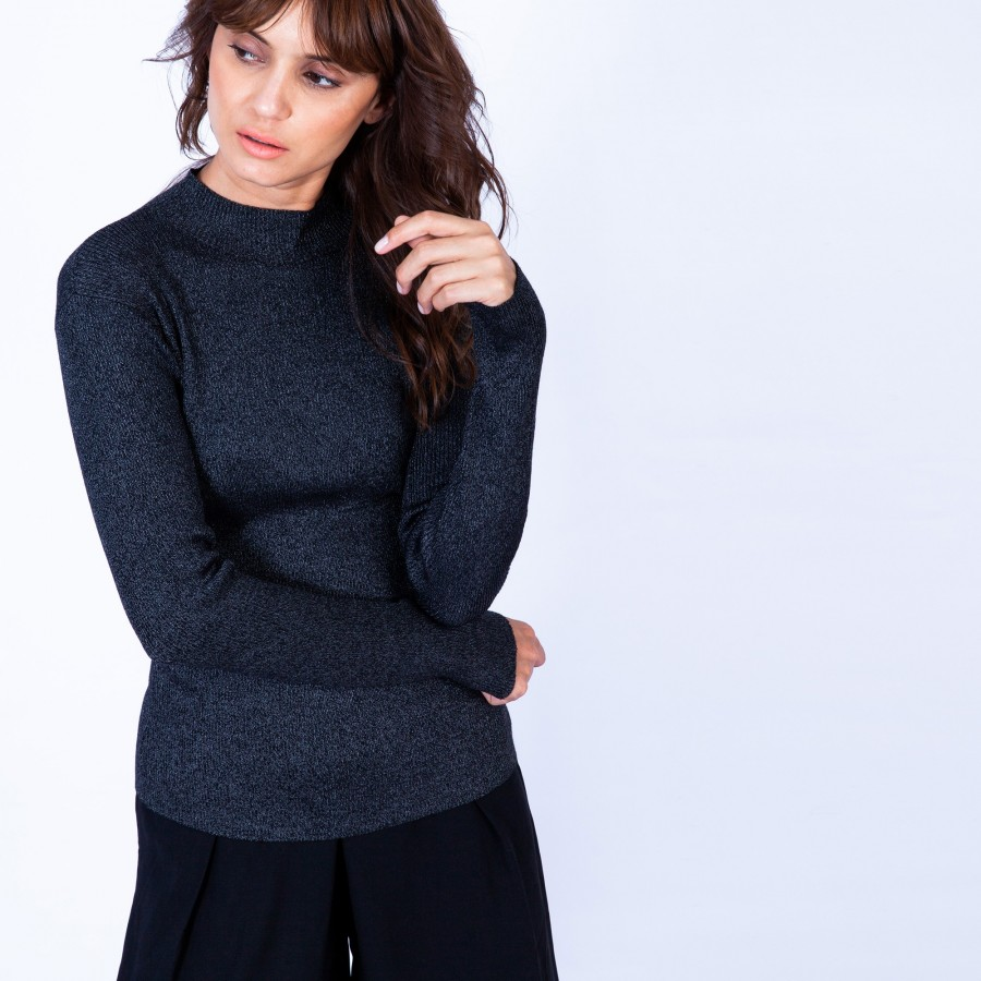 Pull chaussette col montant - Ginette 6310 Noir - 01 noir