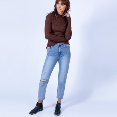 Skinny ribbed polo-neck - Ginette