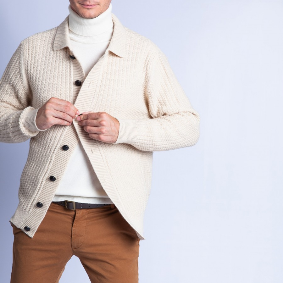 Buttoned jacket in wool and alpaca - Francfort