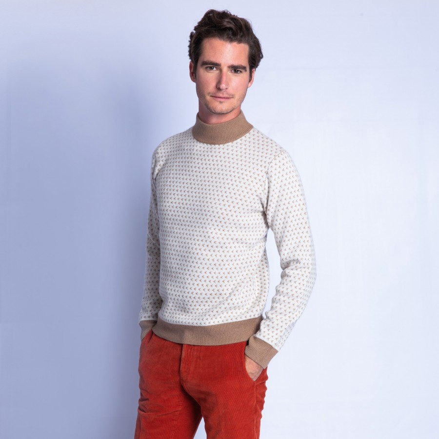 Pull bicolore en cachemire Filibert 6353 camel calcaire - 46 marron clair