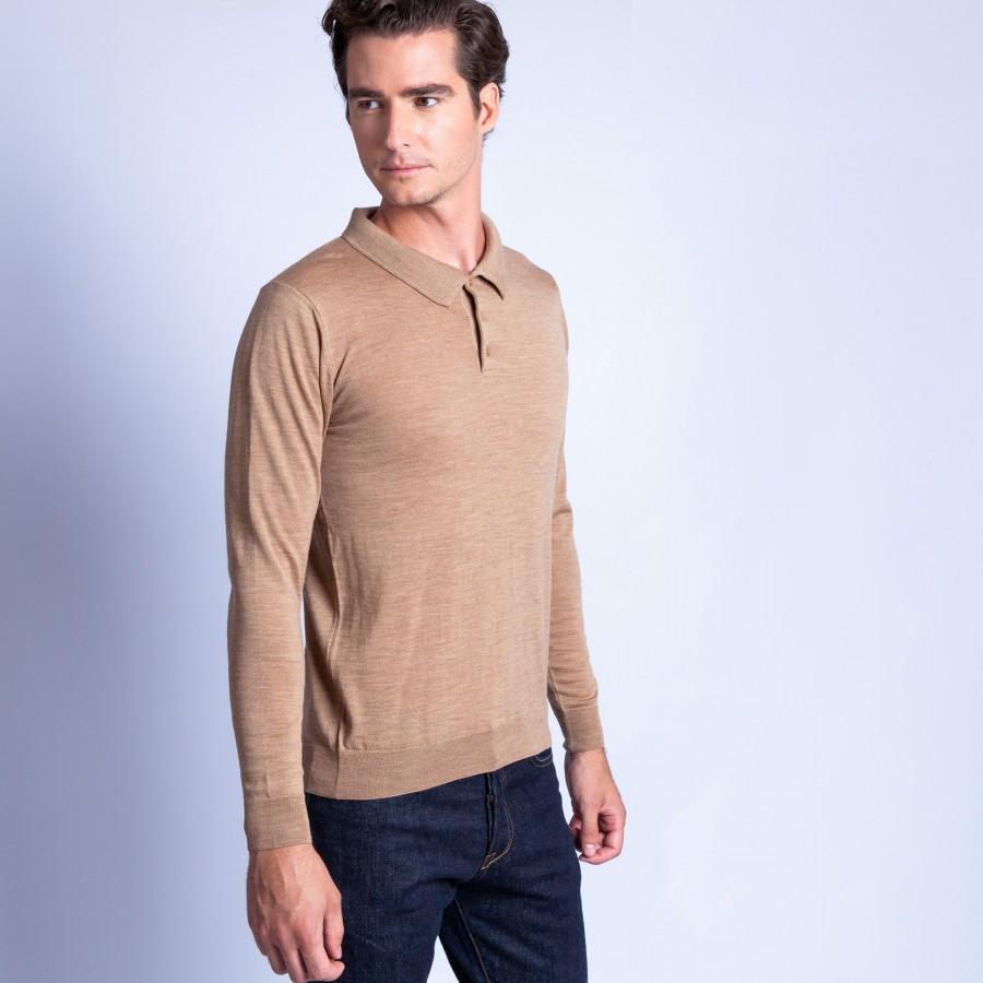 Polo en laine mérinos Fergus 6349 camel - 46 marron clair