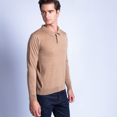 Polo collar sweater in wool - Fergus
