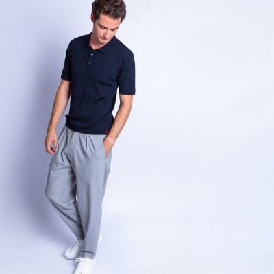 Ribbed merino wool polo shirt - Fara