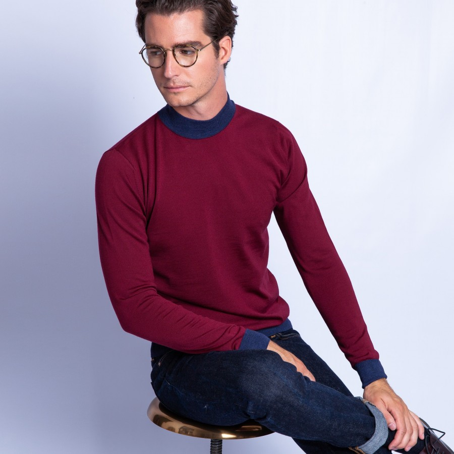 Bicolour merino wool jumper with stand-up collar - Fortune