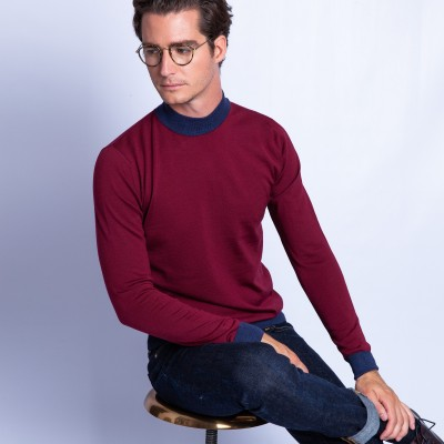 Pull col montant laine mérinos bicolore - Fortune