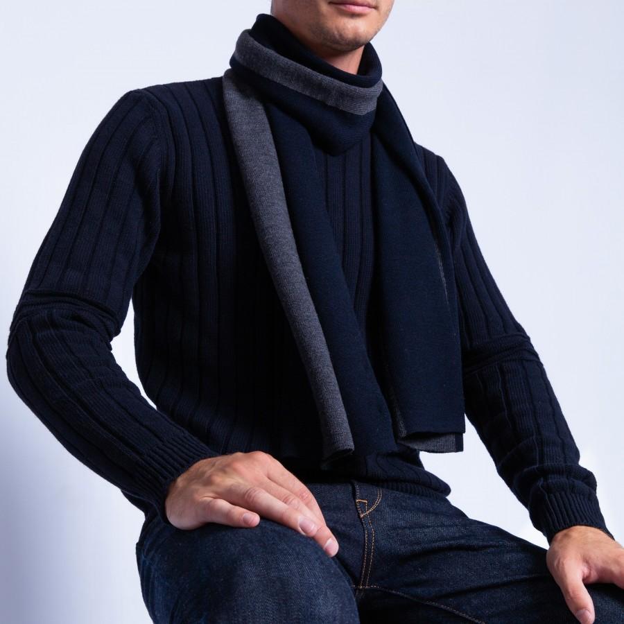 Echarpe rayée en laine mérinos - Fathy 6340 marine rafale - 05 bleu marine