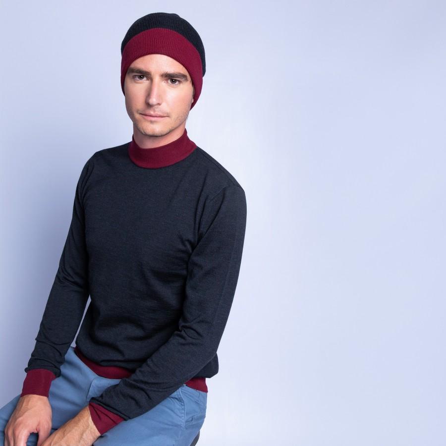 Bonnet bicolore laine mérinos - Fergie 6346 univers imperial - 10 gris foncé