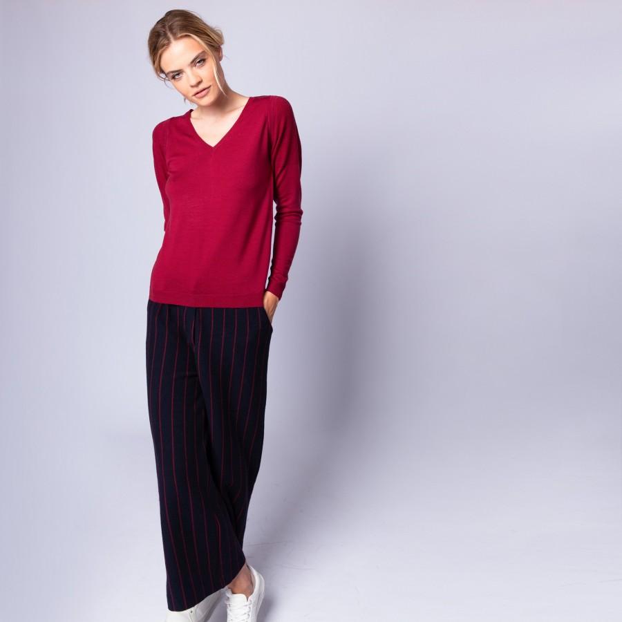 Pull col V en laine mérinos - Ether 6384 rouge cerise - 20 rouge foncé