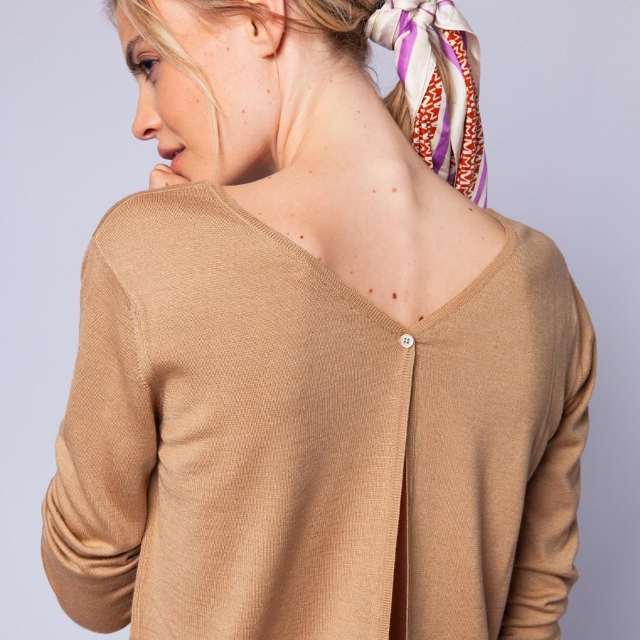 Pull en laine et soie fente dans le dos - Euphrosine 6395 CAMEL - 46 marron clair