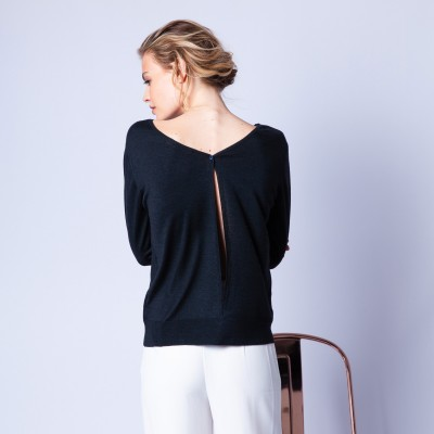 Wool and silk jumper with a slit in the back - Euphrosine