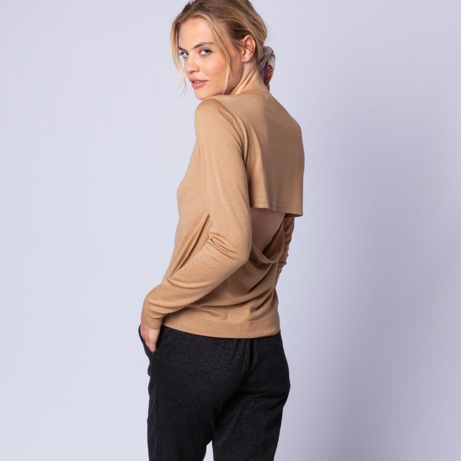 Pull en laine et soie ouverture dos - Embrun 6395 camel - 46 marron clair