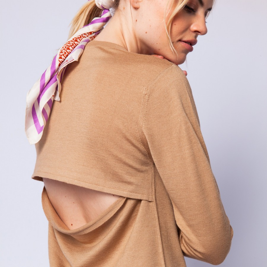 Open-back jumper made of wool and silk - Embrun