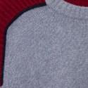Pull graphique en cachemire - Empreinte 6391 rouge cerise marine glace - 11 gris clair