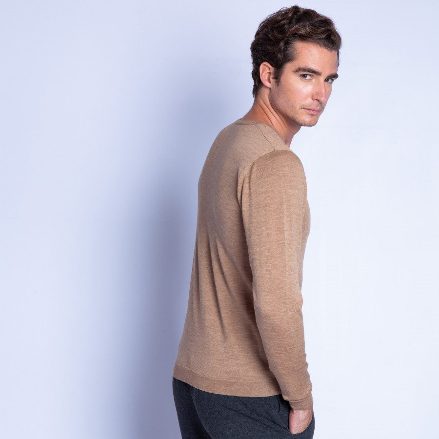 Pull col V en laine - Fox 6349 camel - 47 marron clair