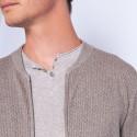 Gilet zippé en coton cachemire - Hiro 6362 gazelle - 14 beige foncé